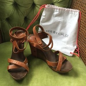 See by Chloe wooden wedges size 41